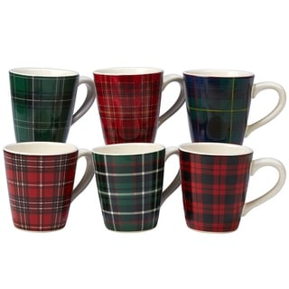 Certified International Christmas Plaid 16 oz. Mugs, Set of 6 Assorted Designs