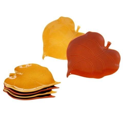 Certified International Autumn Fields 3-D Leaf Appetizer Plates, Set of 6, 2 Assorted Designs