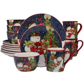 Certified International Starry Night Snowman 16-piece Dinnerware Set, Service for 4