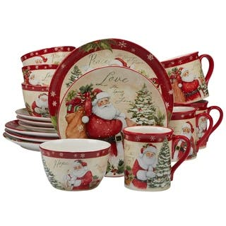 Certified International Holiday Wishes 16 Piece Dinnerware Set Service For 4