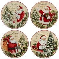 Certified International Holiday Wishes 9-inch Dessert Plate, Set of 4 Assorted Designs