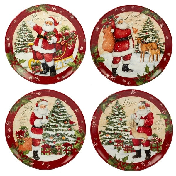 Certified International Holiday Wishes 11-inch Dinner Plate, Set of 4 Assorted Designs. Opens flyout.