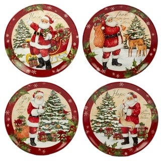 Certified International Holiday Wishes 11-inch Dinner Plate, Set of 4 Assorted Designs