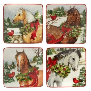 Certified International Christmas on the Farm 6-inch Canape Plates, Set of 4 Assorted Designs