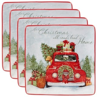 Certified International Home for Christmas 10.5-inch Dinner Plates, Set of 4