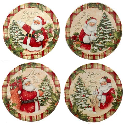 Certified International Holiday Wishes 6-inch Canape Plates, Set of 4 Assorted Designs