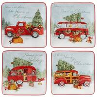 Certified International Home for Christmas 6-inch Canape Plates, Set of 4 Assorted Designs