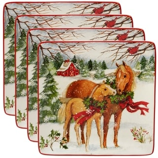 Certified International Christmas on the Farm 10.5-inch Dinner Plates, Set of 4