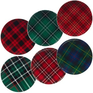 Certified International Christmas Plaid 8.25-inch Dessert Plates, Set of 6 Assorted Designs