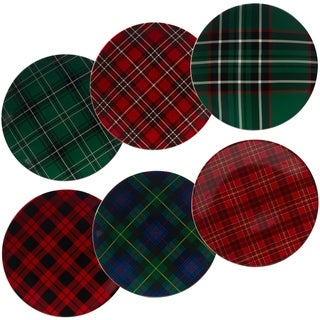 Certified International Christmas Plaid 10.75-inch Dinner Plates, Set of 6 Assorted Designs