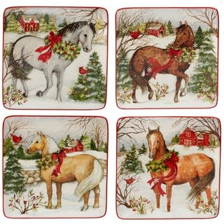 Certified International Christmas on the Farm 8.5-inch Dessert Plates, Set of 4 Assorted Designs