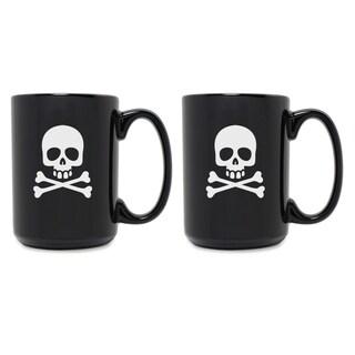 Skull & Crossbones Grande Black Mug (Set of 2) - N/A