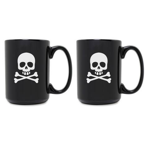 Skull & Crossbones Grande Black Mug (Set of 2)