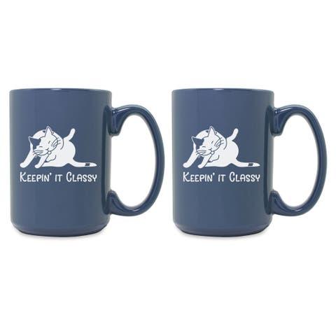 Keepin It Classy Cat Grande Steel Blue Mug (Set of 2)