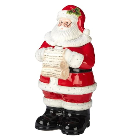 Certified International Holiday Wishes 3-D 12.25-inch Santa Cookie Jar