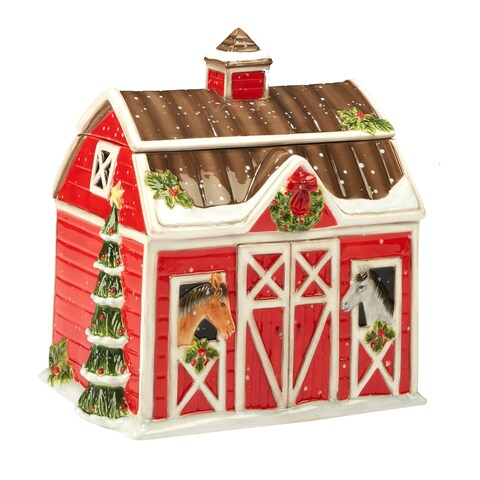 Certified International Christmas on the Farm 3-D Barn Cookie Jar 10-inch