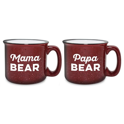 Mama & Papa Bear Camp Burgundy Mug (Set of 2)