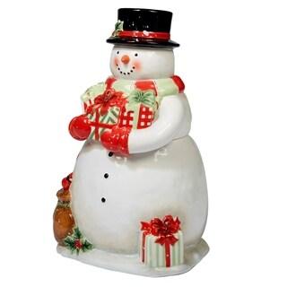 Certified International Starry Night Snowman 3-D Snowman Cookie Jar 11.5-inch