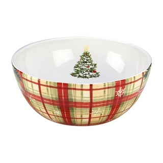 Certified International Holiday Wishes Plaid Serving Bowl