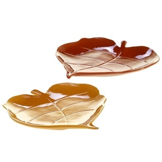 Certified International Autumn Fields 3-D Leaf Platters, Set of 2 Assorted Designs