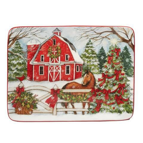 Certified International Christmas on the Farm Rectangular Platter