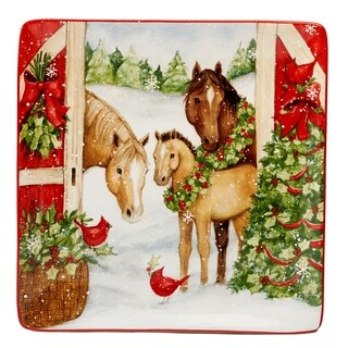 Certified International Christmas on the Farm Square Platter 12.5-inch