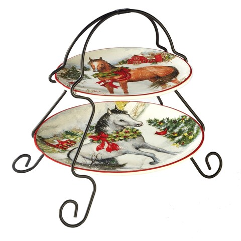 Certified International Christmas on the Farm 2-Tier Server (7-inch and 9-inch plate)