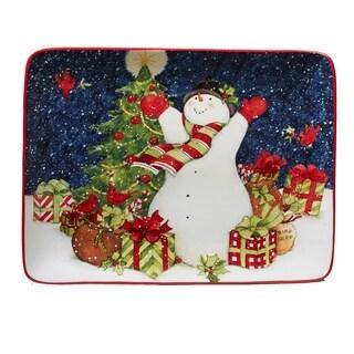 Certified International Starry Night Snowman Rectangular Platter