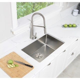 STYLISH 28 inch Undermount Single Bowl 16 Gauge Stainless Steel Kitchen Sink with Grid and Cutting Board S-306XGB