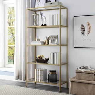 Florh Glass Shelves Gold Bookcase