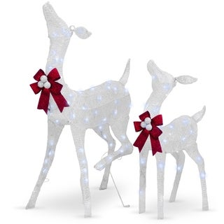 "38"" and 28"" Fawn and Doe Decoration with White LED Lights - 38"