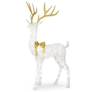 "75"" Pre-lit Crystal White Standing Buck - 75"