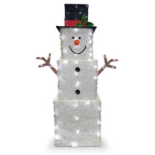 "42"" Snowman Decoration with Cool White LED Lights - 42"