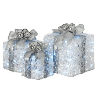 Pre-Lit Decorated White Gift Box Assortment - 12