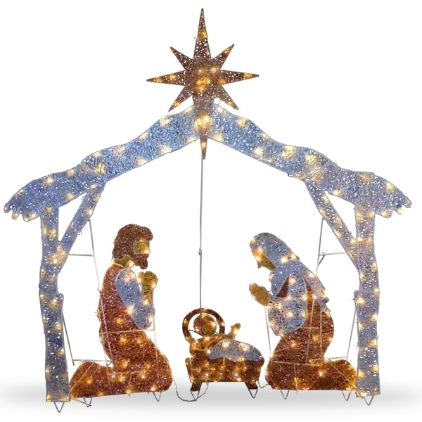 """55"""" Nativity Scene with Clear Lights - 51.5. Opens flyout."""