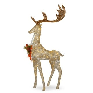 """55"""" Pre-lit Crystal Champagne Standing Buck - 55"""