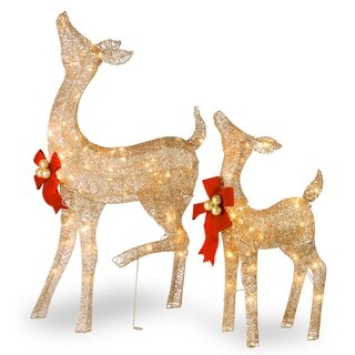 "38"" and 28"" Fawn and Doe Decoration with Clear Lights - 38"
