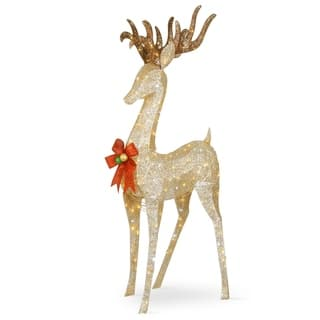 74 pre lit crystal champagne standing buck 74 - Metal Reindeer Christmas Decorations