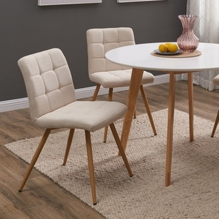 Handy Living Manzanola Tan Linen Armless Upholstered Dining Chairs (Set of 4)