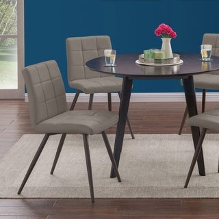 Handy Living Manzanola Taupe Grey Faux Leather Armless Upholstered Dining Chairs (Set of 4)