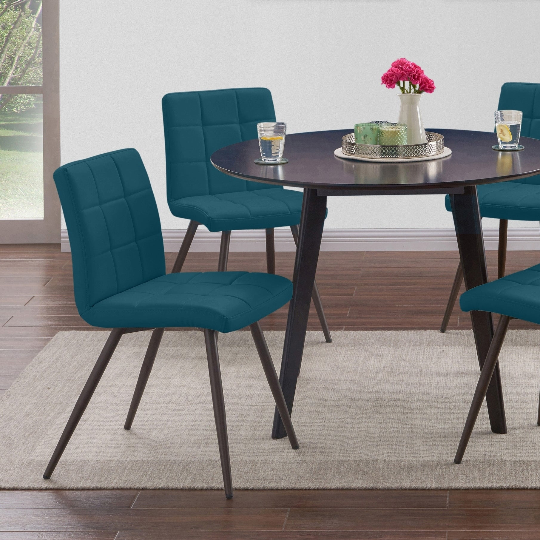 Picture of: Handy Living Manzanola Blue Faux Leather Armless Upholstered Dining Chairs Set Of 4 Overstock 22578796