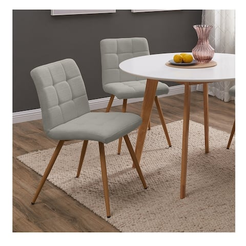 Handy Living Manzanola Grey Linen Armless Upholstered Dining Chairs (Set of 4)