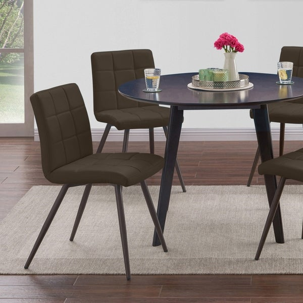 Shop Dining Room Chairs: Shop Handy Living Manzanola Brown Faux Leather Armless