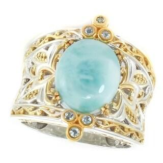 Michael Valitutti Palladium Silver Oval Cabochon Larimar & White Sapphire Ring