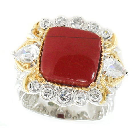 Michael Valitutti Palladium Silver Red Jasper & Cubic Zirconia Ring
