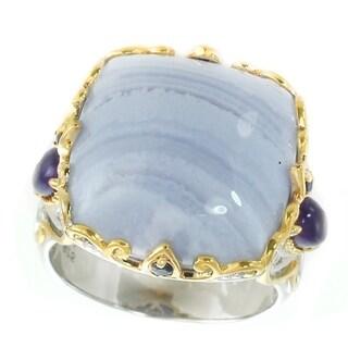 Michael Valitutti Palladium Silver Blue Agate, Iolite & Blue Sapphire Ring