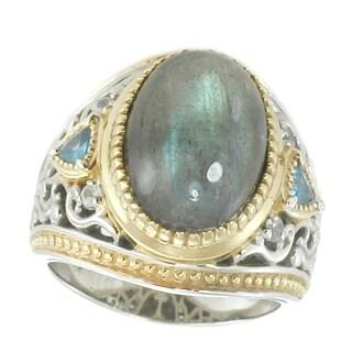 Michael Valitutti Palladium Silver Oval Cabochon Labradorite, London Blue Topaz & Blue Sapphire Ring