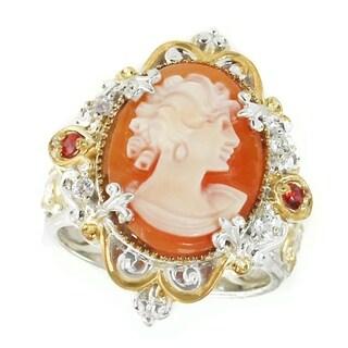 Michael Valitutti Palladium Silver Oval Lady Orange Cameo, Orange Sapphire & White Sapphire Ring