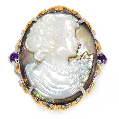 Michael Valitutti Palladium Silver Carved Mother-of-Pearl Portrait Cameo & Amethyst Ring