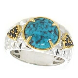 Michael Valitutti Men's Palladium Silver Spider Turquoise & Black Spinel Ring